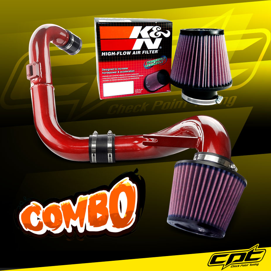 medium resolution of 06 11 honda civic dx lx ex 1 8l 4cyl red cold air intake k n air filter