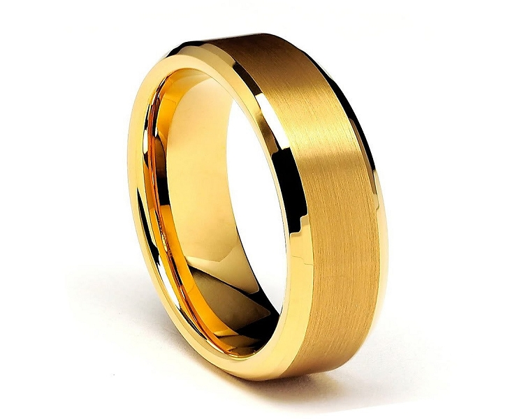 Gold Beveled Tungsten Rings 8mm Gold Tungsten Wedding
