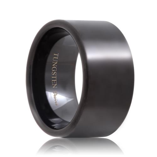 Indianapolis Flat Black Tungsten Carbide Wedding Ring 4mm 8mm