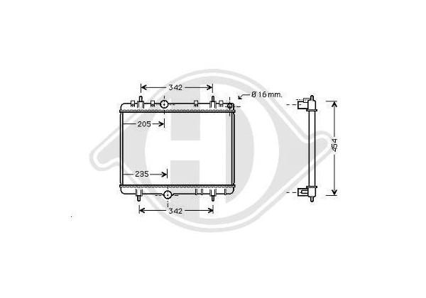 Radiador C4,c5,p307,p308, 03- 380x562, 1.6hdi+fap,2