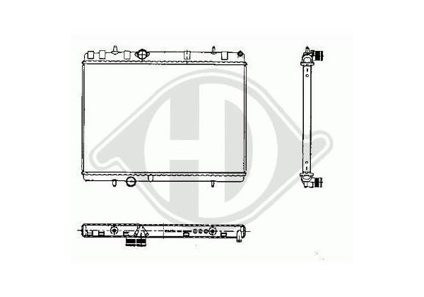 Radiador C5, Peugeot 407, 04- 380x558, 1.6 Hdif,2.2i-16v