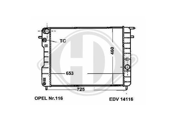 Radiador Omega B, 96-99, 653x460, 2.5,3.0 V6,manual