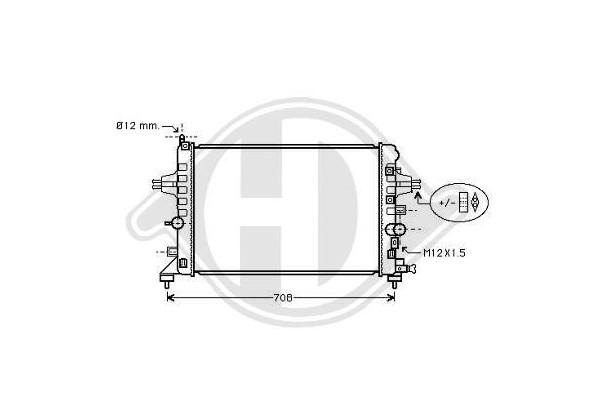 Radiador Opel Astra H, 04-600x370x14, 1.6,+/-ac, Manual