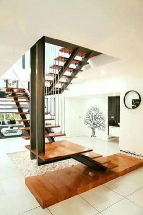 escalier flottant libre avec palier double portique