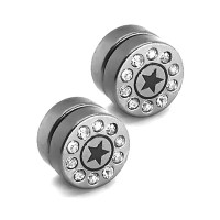 1 pair fake plugs magnetic taper tunnel earrings stainless ...