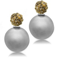 Shamballa Earrings Studs Double Sided Pearl Beads Ball ...