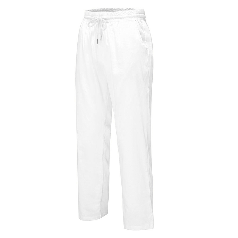 Men's Cotton Linen Yoga Straight Leg Pants Summer Loose