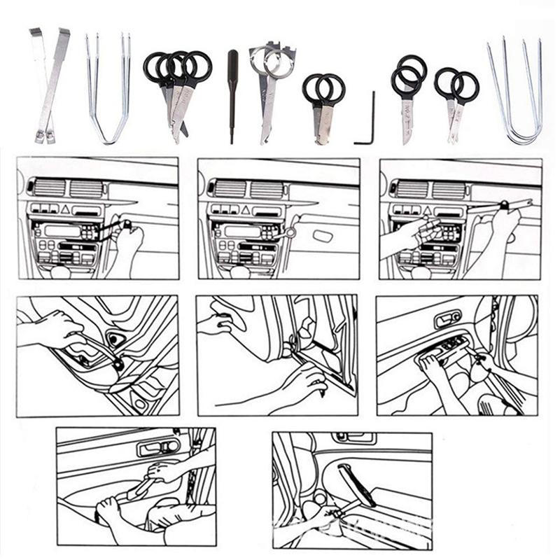 20PCS Professional Car Truck Radio Removal Key Set Kit