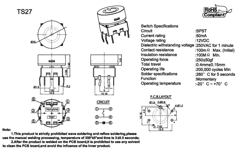 HONYONE TS27 Round 15mm Power Symbol Momentary PCB Push