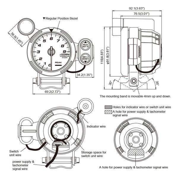 Tachometer Gauge Kit LED 3.5
