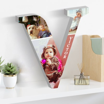 Vertical frame laying on shelf Mockup