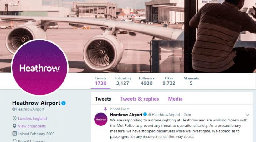 Heathrow suspende salidas por drones