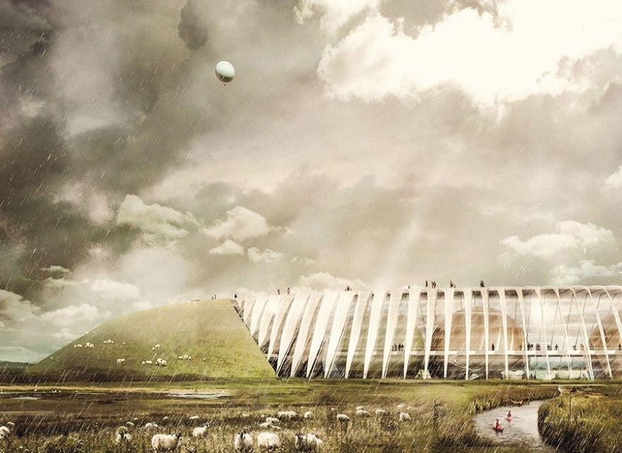 Oplevelsescenteret Naturkraft vil strække sig over et areal på 50 ha og bestå af en ringvold omkring en stor hovedbygning. (illustration: Thøgersen og Stouby ApS)