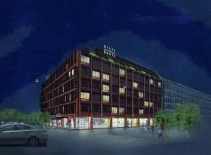 Steel House Copenhagen får en central beliggenhed ved Vesterport. (Computer-animation: Arp-Hansen Group)