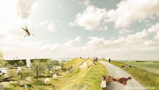 Oplevelsescenteret NaturKraft skal stå klart i påsken 2020. Håbet er, at den nye attraktion kan tiltrække 200.000 gæster om året. (PR-foto: Ringkøbing-Skjern Kommune)
