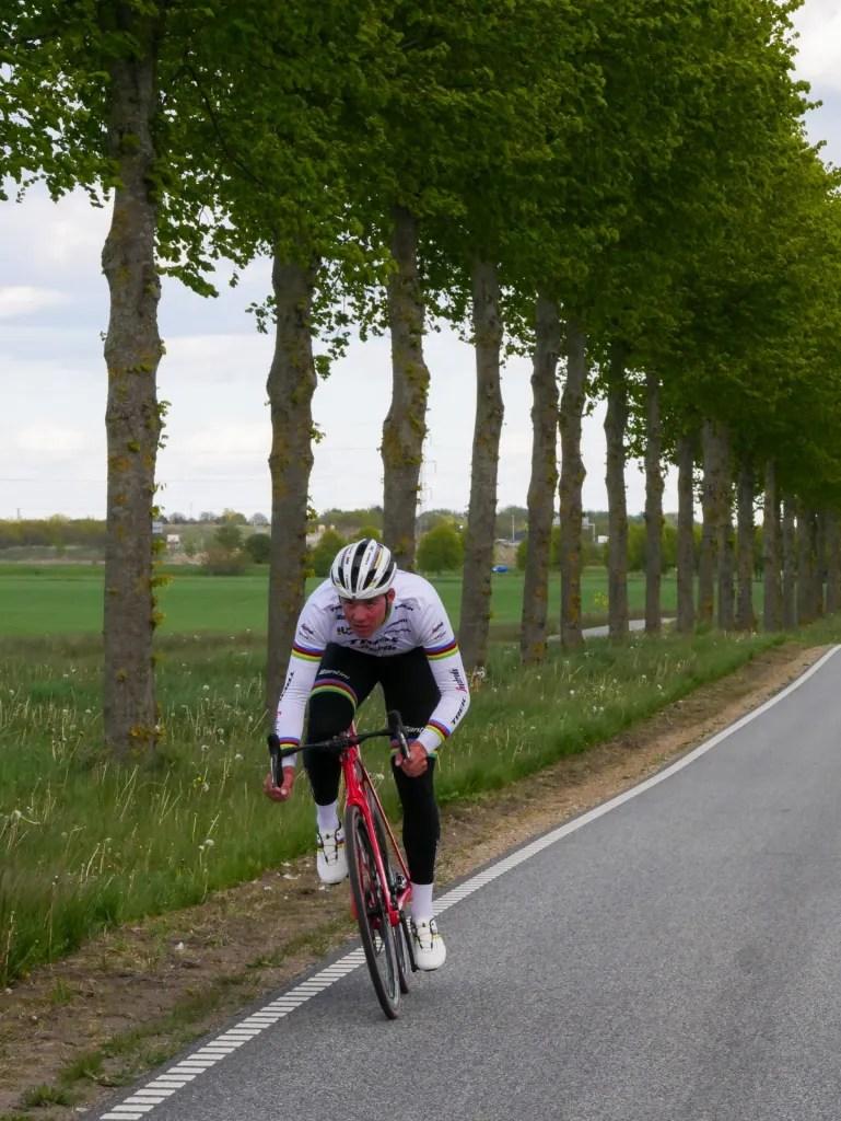 Mads Pedersen på Ledreborg Allé - hvor også Tour de France-feltet vil køre. (PR-foto)
