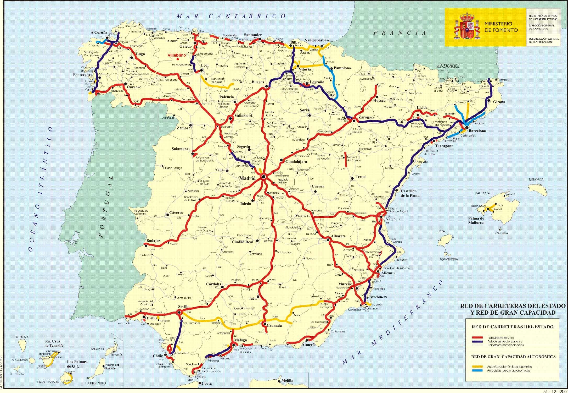 Provincias Mapa De España Carreteras.Carreteras De Espana Turismo Por Espana