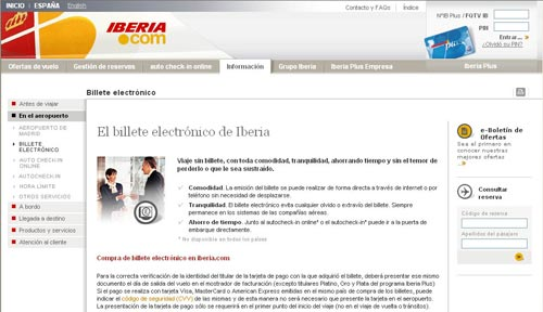 IBERIA estrena nuevo servicio de obtención de Tarjeta de Embarque en su web