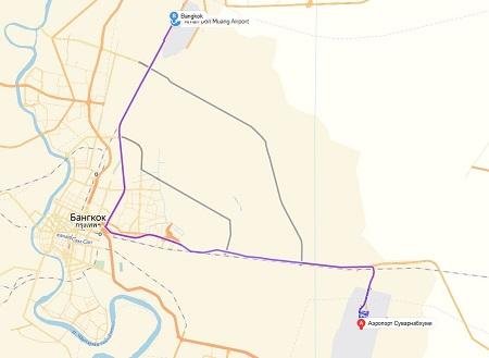 карта между аэропортами Бангкока