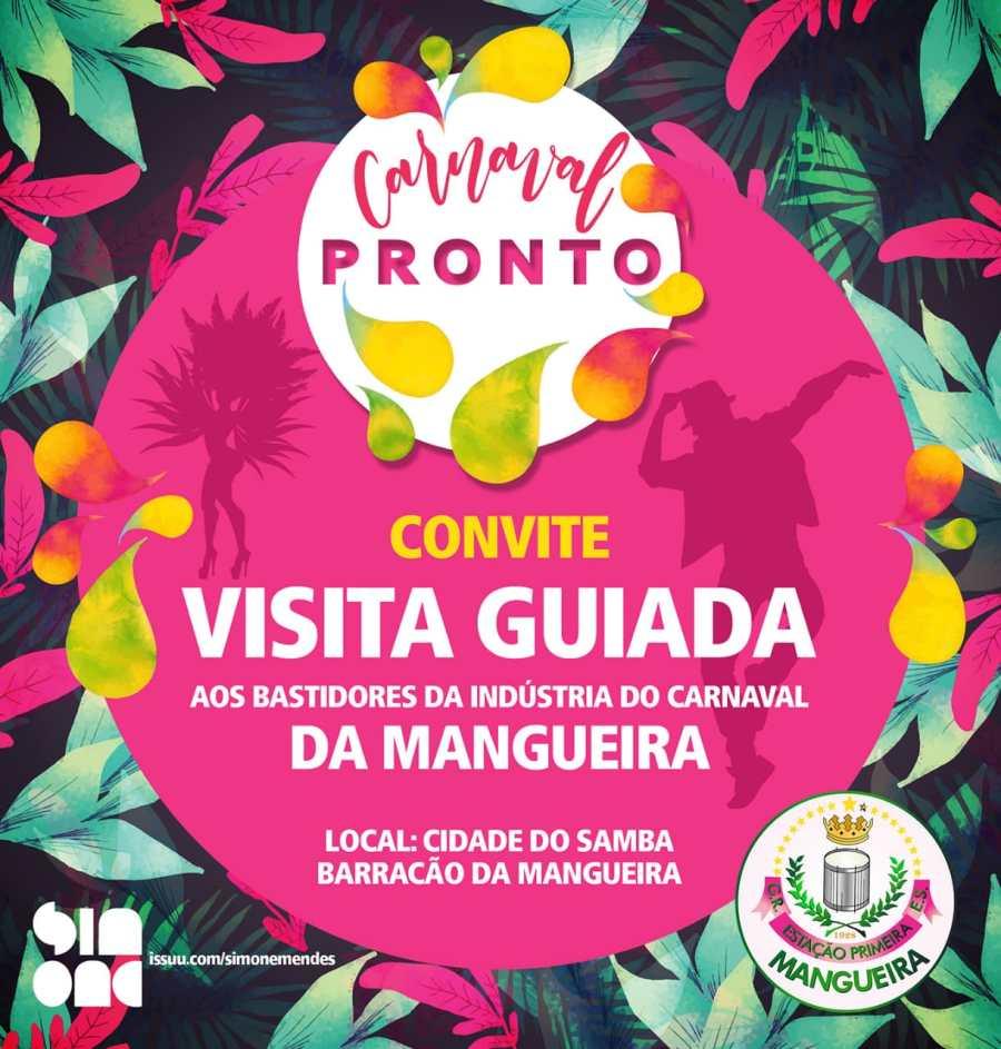 Convite para a visita guiada ao barracão da Mangueira.