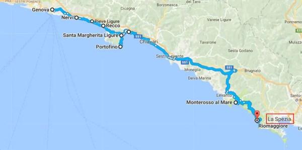 mapa Road Trip pela Italia SS1 600x298 Road Trip pelo litoral italiano: De Gênova à Cinque Terre