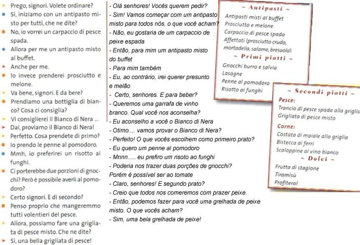 dialogo 3 Italiano para Viagem: As etapas de uma refeição italiana (almoço e janta)