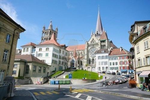 El centro histórico de Lausana, en Suiza.