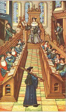 Encuentro de médicos en una Universidad de París del siglo XIII.