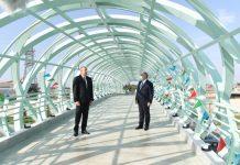 Azərbaycan Respublikasının Prezidenti İlham Əliyev Mərdəkan-Zuğulba avtomobil yolunda yerüstü piyada keçidinin açılışında