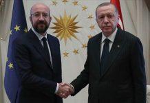 ürkiyə Prezidenti Rəcəb Tayyib Ərdoğan və Avropa İttifaqı Şurasının prezidenti Şarl Mişel