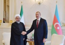İran İslam Respublikasının Prezidenti Həsən Ruhani və Azərbaycan Respublikasının Prezidenti İlham Əliyev