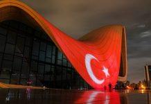 Heydər Əliyev Mərkəzinin binası və Bakı Olimpiya Stadionunun üzərinə Türkiyənin bayrağı videoproyeksiya olunub