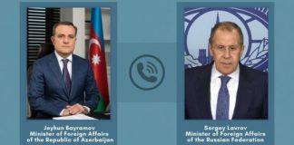 Azərbaycan Respublikasının xarici işlər naziri Ceyhun Bayramov və Rusiya Federasiyasının xarici işlər naziri Sergey Lavrov