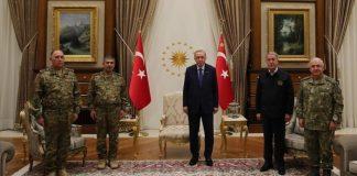 Türkiyə Prezidenti Azərbaycan Müdafiə Nazirliyinin rəhbər heyətini qəbul edib