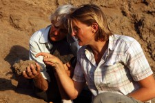 Meave (L) and Louise Leakey, discussing one of the new fossils at the time of discovery. Found within a radius of just over 10 km from 1470's location, the three new fossils are dated between 1.78 million and 1.95 million years old.