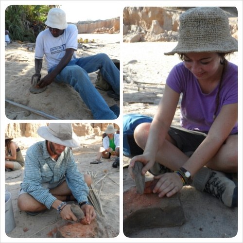 And finally Nyete, Chris and Kat test their nut-processing skills too