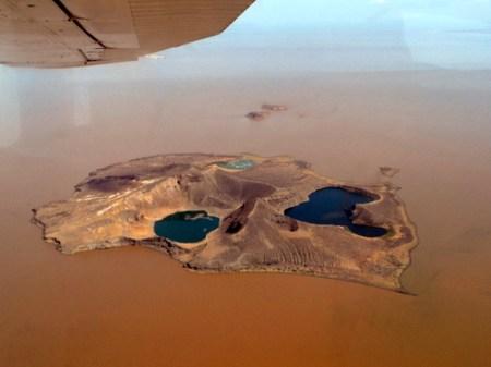 Aerial view of Central Island. Anti-clockwise from left: Flamingo Lake, Crocodile Lake, Tilapia Lake.