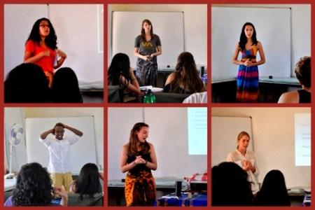 Carolina, Erica, Lauren, Abdi, Sarah and Janina give their presentations.