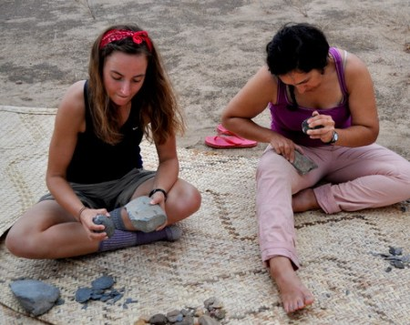 Sarah and Angela get knapping.