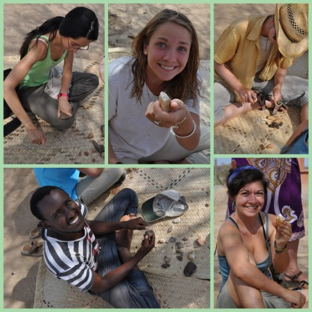 From top left: Lauren, Robyn, Janina, Abdi and Kat; working on their quartz pebbles (Robyn and Kat are showing the chopping tools they made).
