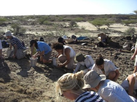 Students collecting rocks to help clear the site.