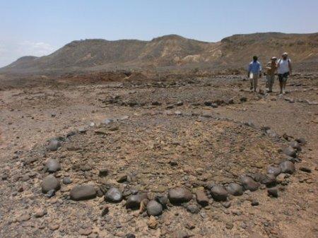 Stone circles at the Lothagam pillar site.