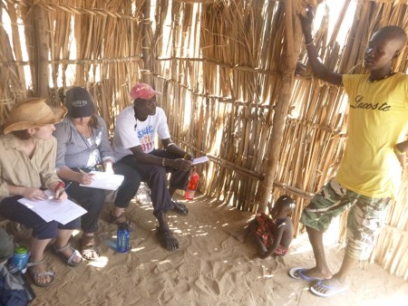 Anna, Aileen, and Charles interview Turkana from a nearby village