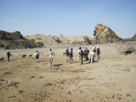 Beginning our hike up the dry bed of the Kalakol River.