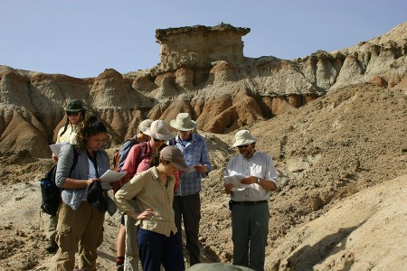Dr. Fortelius guides students through TBI fossil documentation procedures.