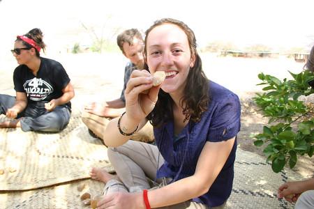 Anna shows off her first tool made of quartz.