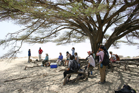 Lunch time. We had a beautiful view of Lake Turkana from the top of the bluffs.