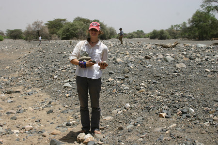 Larisa is done selecting phonolite she will use to make stone tools.