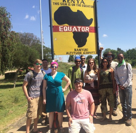 Tourist photo at the Equator Sign in Nanyuki town.