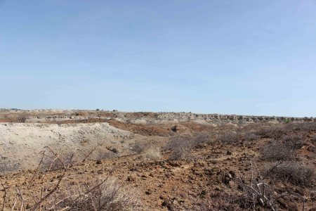 A view of the ridges in the area next to Ileret camp. You can see the red deposits of the main fish bed and the white deposits of the Chari tuff.